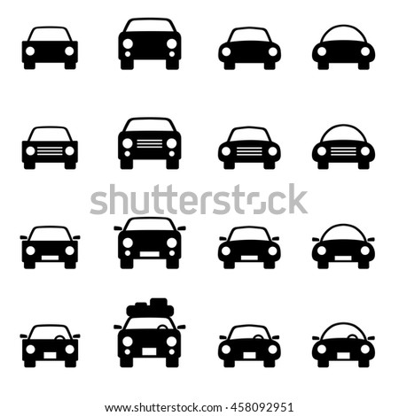 Set of icons representing car, automobile, motor vehicle