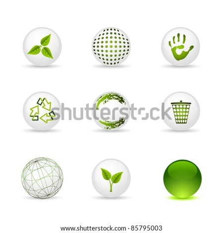 Set of icons - spheres: ecology and green