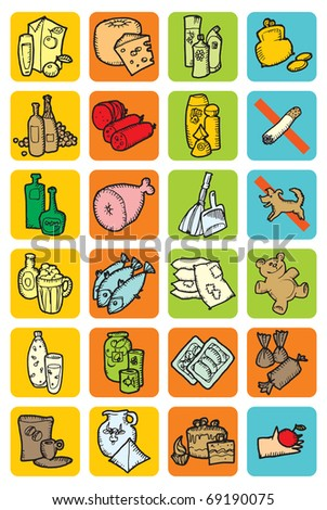 Set of icons with food and drinks. Raster version. Vector version is also available.