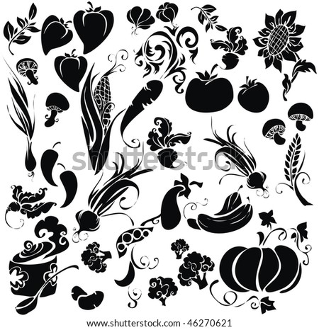 Set of icons with vegetables