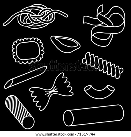 Set of illustrated icons of different pasta shapes