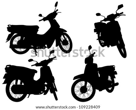 Set of illustrated silhouettes of motorcycle scooters