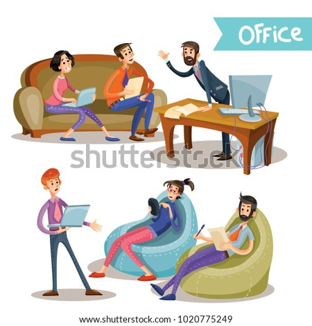 Set of illustrations of a leader with subordinates, office workers, partners negotiating isolated on white background in cartoon style