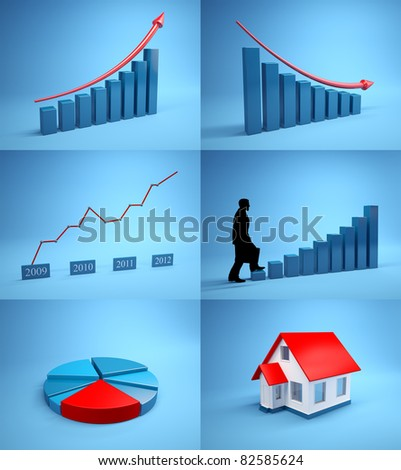 Set of images for business. Graphs, statistics
