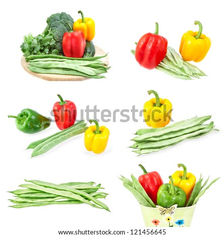 Set of images of fresh vegetables. Close-up on a white background.
