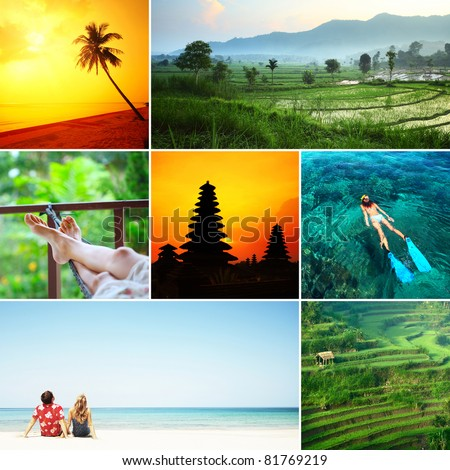 Set of images with recreation theme in tropical country. Bali island