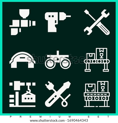 Set of 9 industrial filled icons such as screwdriver, driller, conveyor, hangar, tools, crane, tool