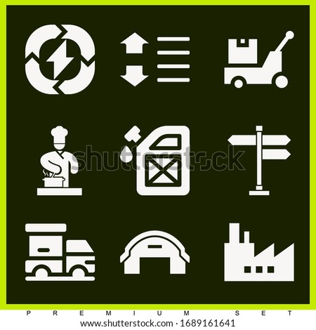 Set of 9 industry filled icons such as fuel station, sort, chef cooking on stove, factory, renewable energy, hangar, panel, logistics