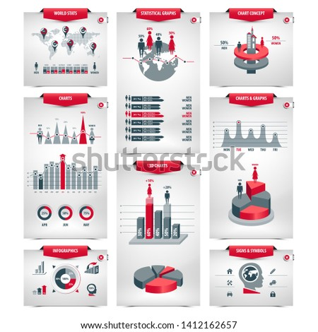 set of infographic elements containing population demographics design, business statistical line graphs with icons, 3d column, pie, shape bar and ring charts, isolated forms on white background