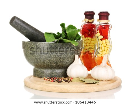 Set of ingredients and spice for cooking isolated on white