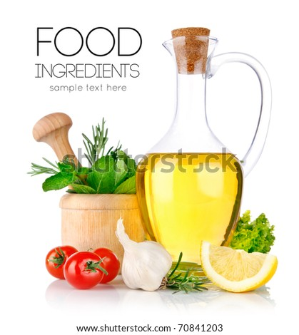 set of ingredients and spice for food cooking isolated on white background