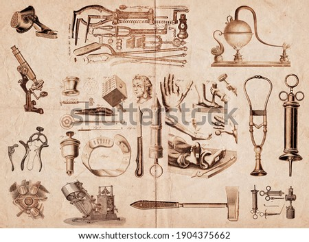 Set of instruments and practices of ancient medicine used by doctors. Gadgets to treat deformed fingers and toes, cataract surgery, syringe, stethoscope, and other objects.  Сток-фото ©