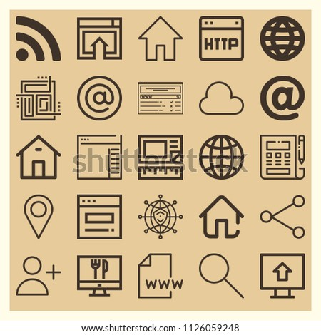 Set of 25 internet outline icons such as home, arroba, at, worldwide, side menu, rss symbol, cloud, share, search, placeholder, adduser, world web, homepage, layout, upload