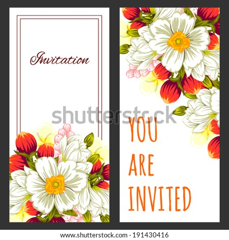 Set of invitations with floral background #191430416