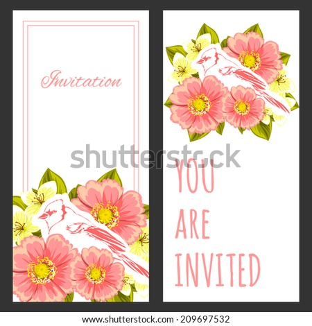 Set of invitations with floral background #209697532