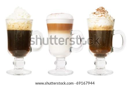 Set of 3 irish coffee isolated on white background
