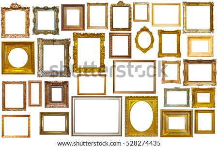 Set of isolated art empty frames in golden and silvery color #528274435