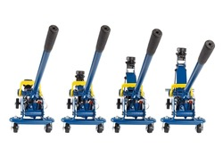 set of isolated blue hydraulic car jacks on white background raised in different heights, 2 ton capacity