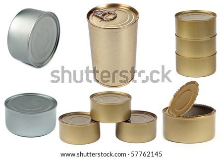 Set of isolated cans on white background