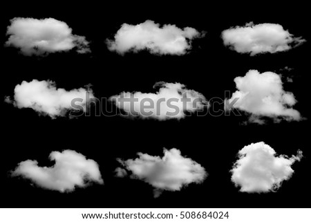 Set of isolated clouds on black - Shutterstock ID 508684024
