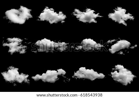 Set of isolated clouds on black - Shutterstock ID 618543938