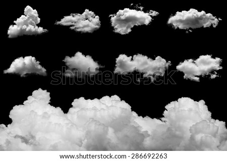 set of isolated clouds on black ...