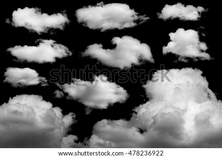 Set of isolated clouds on black background - Shutterstock ID 478236922