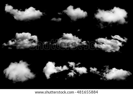 Set of isolated clouds on black background - Shutterstock ID 481655884