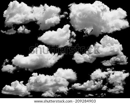 Set of isolated clouds over black. Design elements  - Shutterstock ID 209284903