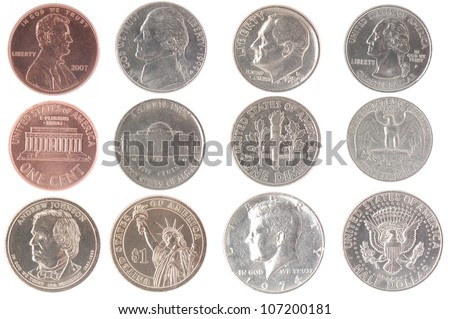 Set of isolated coins from American currency including front and back views
