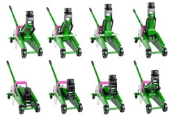 set of isolated green hydraulic car jacks on white background raised in different heights, 2 ton capacity