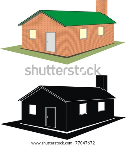 Set of isolated illustration - brick house (cottage) on white background, silhouette