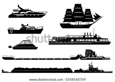 Set of isolated industrial tugs and passenger boats and yachts. Black and white illustration. Water and river transport silhouettes