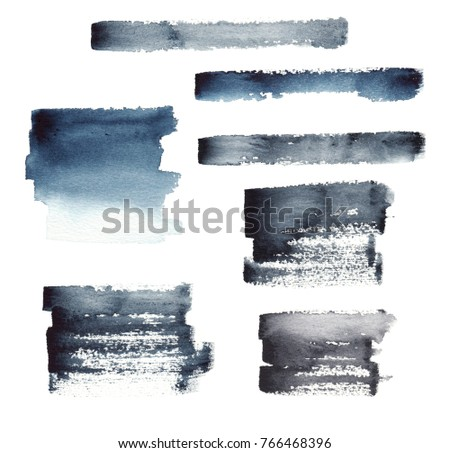 Set of isolated on white dry paint brush spots, strokes, lines and marks. Indigo, blue, black and gray paint and ink as stylish watercolor abstract backgrounds.