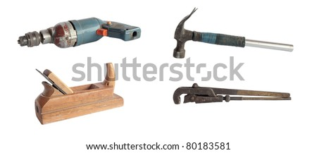 Set of isolated rusty old tools for work