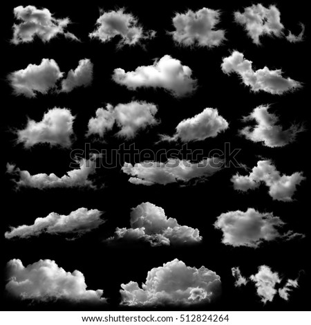 Set of isolated white fluffy clouds over black. Design elements