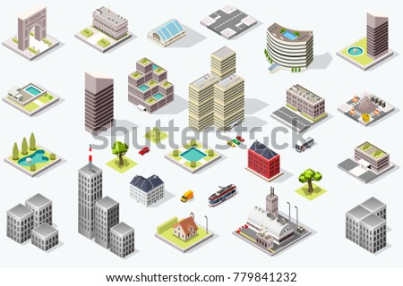 Set of isometric city buildings. Town district landscape with urban infrastructure streets and houses. 3D illustration.