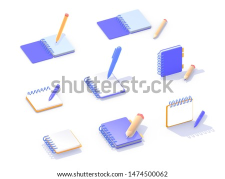 Set of isometric 3d icons, notebooks to write in blue and orange, different views on white background with shadow. Standing objects, lying objects.