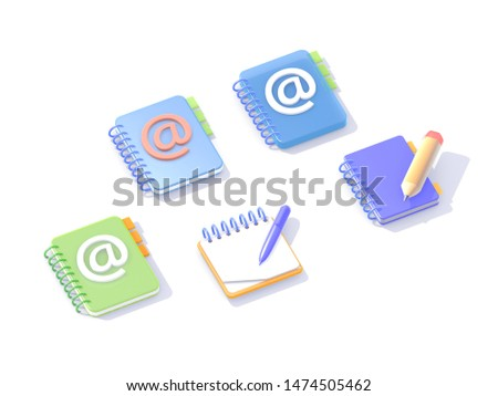 Set of isometric 3d icons, notebooks to write in blue and orange, different views on white background with shadow. Email address books. Standing objects, lying objects.
