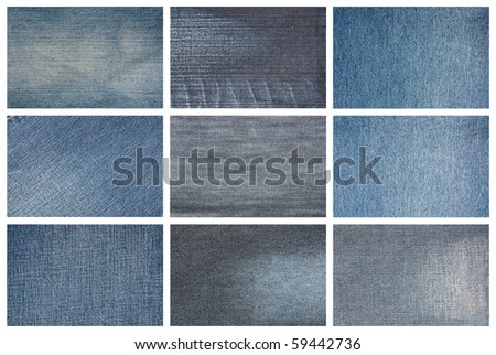 Set of jeans cloth texture