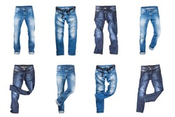 Set of jeans trousers isolated over white background