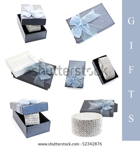 Set of jewelry gift with bracelet and box over white background