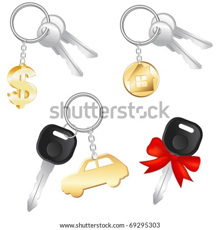 Set Of Keys With Charm In Form Of Dollar, Car And House, Isolated On White Background