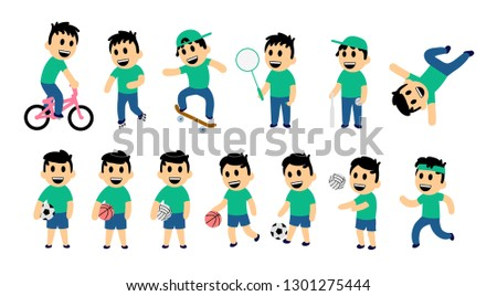 Set of kid street and sport activity. Funny boy in different action poses. Colorful flat illustration. Isolated on white background. Raster version. #1301275444