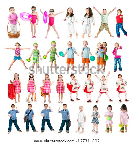 set of kids isolated on a white background