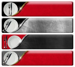 Set of Kitchen Banners with clipping path. Collection of four kitchen banners with white plates and silver cutlery, black, red and metal background with clipping path.