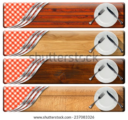 Set of Kitchen Banners with Plates. Collection of four kitchen banners with white empty plates, silver cutlery, checkered tablecloth, wooden background, metallic curves. Isolated on white background