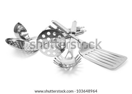 Set of kitchen on white background - stock photo