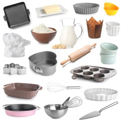 Set of kitchen utensils for bakery and products on white background