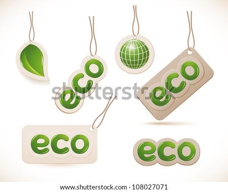 Set of labels eco sign